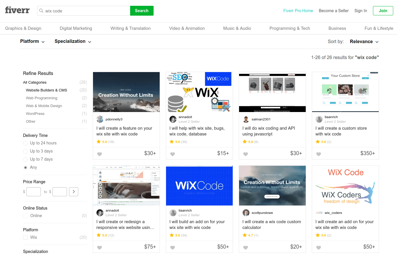 how to find good wix code expert on fiverr
