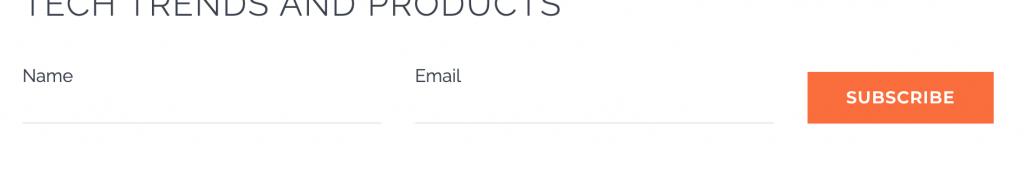 Name Email Horizontal Forms sample