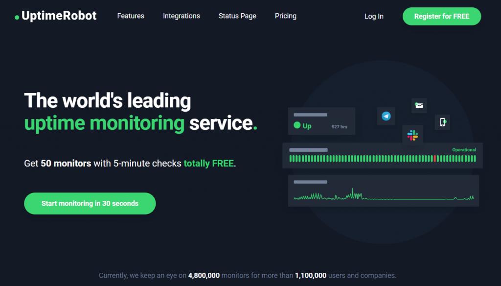 Uptime Robot web tool